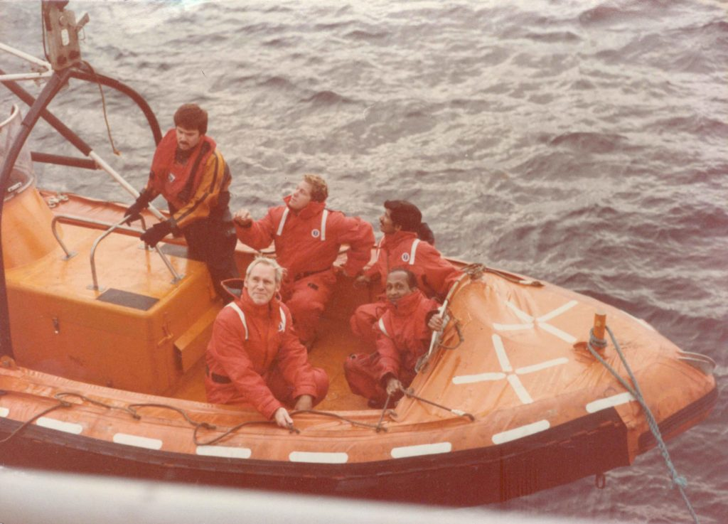 Ramachandran and others shuttling between the ships John Cabot and Kreuzturm (Photo courtesy: V Ramachandran)