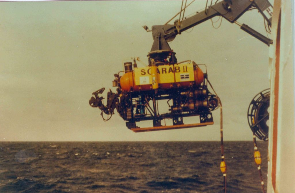 Scarab being lowered into the ocean from John Cabot (Photo courtesy: V Ramachandran)