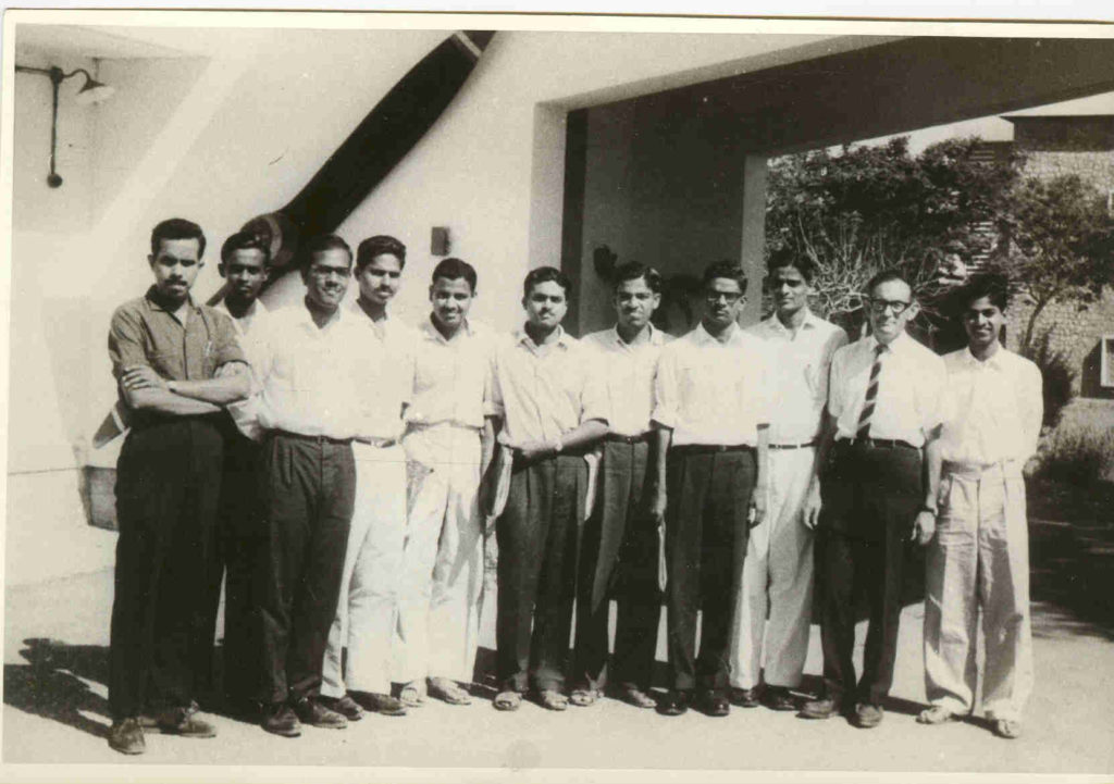 Members of the Department of Aeronautical Engineering, circa 1964: Roddam Narasimha (extreme left), HS Mukunda (extreme right), Hans Liepmann (second from right), and SM Deshpande (fourth from right) (Photo courtesy: Roddam Narasimha)