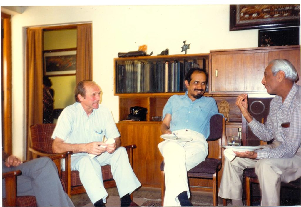 Anatol Roshko, Roddam Narasimha and Satish Dhawan, all students of Hans Liepmann (Photo courtesy: Roddam Narasimha)