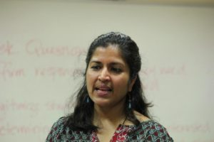 Meena Balgopal, a faculty from CSU specialising in science education, conducted the workshop (Photo: Karthik Ramaswamy)