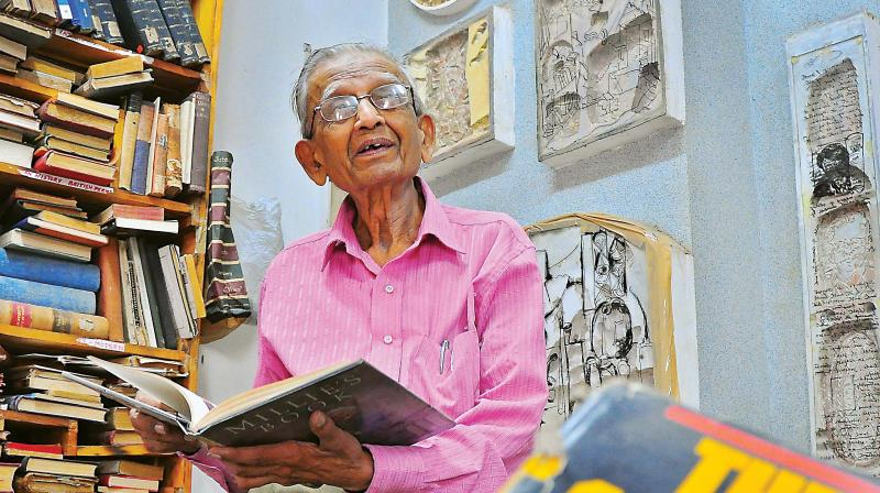 KKS Murthy, owner, Select Book Shop, at his store on Brigade Road (Photo: Satish B)