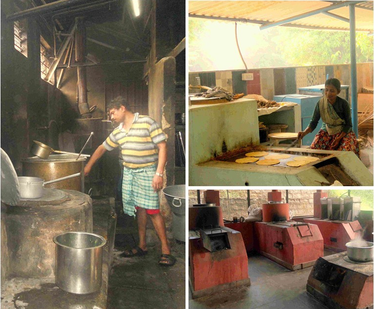 Left: ASTRA OLE cooking stove at Huliappa's Donne Biryani in Yelahanka; Top Right: ASTRA OLE customized for roti-making for an ashram in Kengeri on the outskirts of Bengaluru; Bottom Right: ASTRA OLE cooking stoves at The Valley School in Bengaluru (Photos: Megha Prakash)