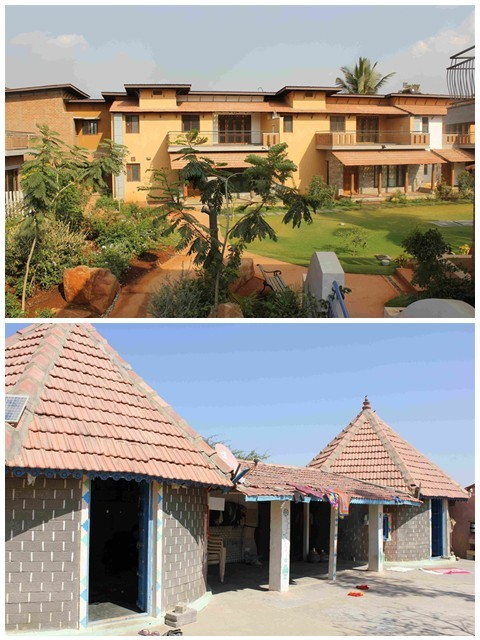 Top: The Good Earth Malahar Housing project used SSB technology to build 350 villas in Bengaluru; Bottom: In participation with a local NGO, Hunnarshala Foundation, 10,000 circular houses, or bhungas in the local language, were built using rammed earth technology in earthquake devastated Bhuj in Gujarat (Photos: BV Venkatarama Reddy)