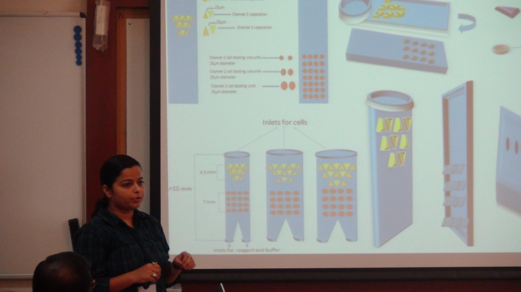 A participant of a Hands-on Training Program presenting her proposal (Photo courtesy: INUP/CeNSE)