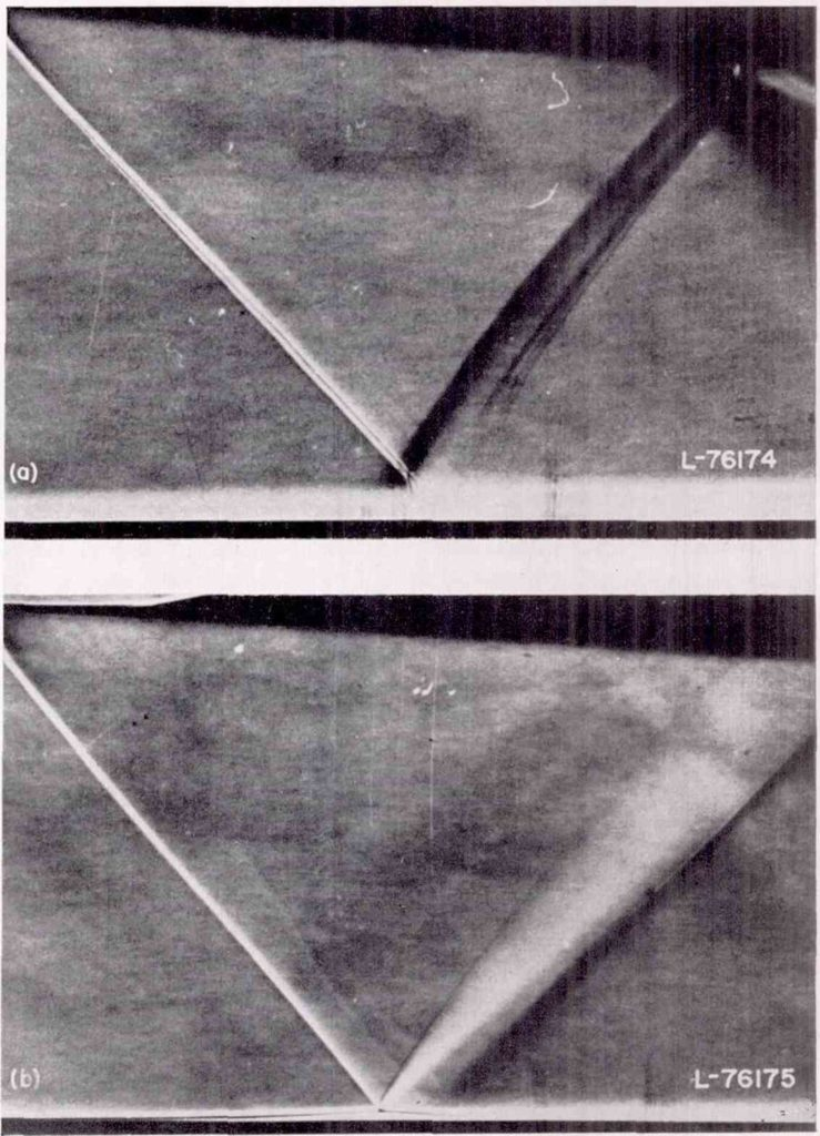 Shock-wave reflections from a flat surface with turbulent boundary layer (top), and laminar boundary layer (bottom) (Image courtesy: NACA Report 1100, 1952)