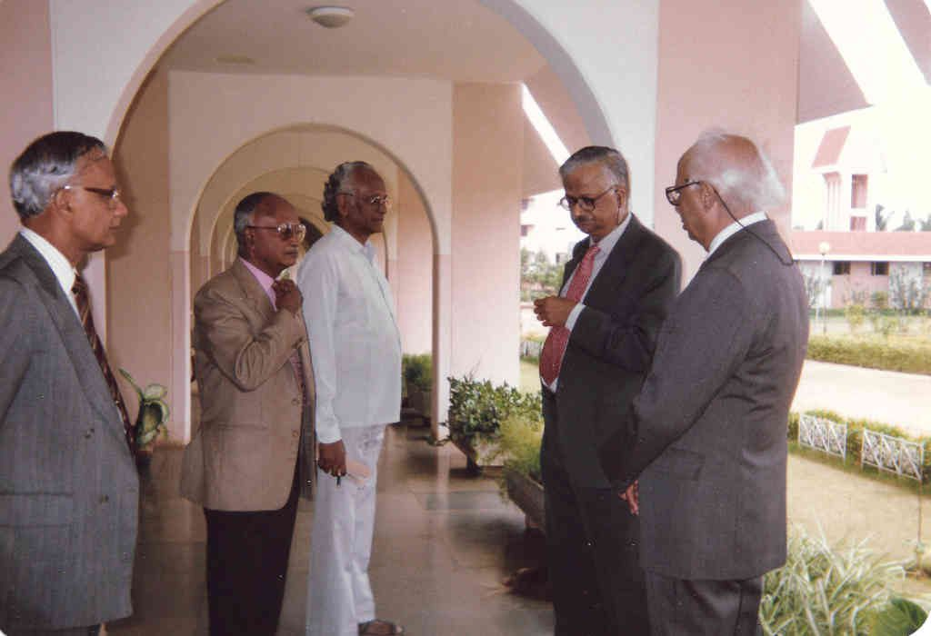 David (centre) at NIAS, with (from left to right): CV Sundaram, Maj. Gen. (Retd.) MK Paul, Raja Ramanna, and MN Srinivas (Photo courtesy: GD David)