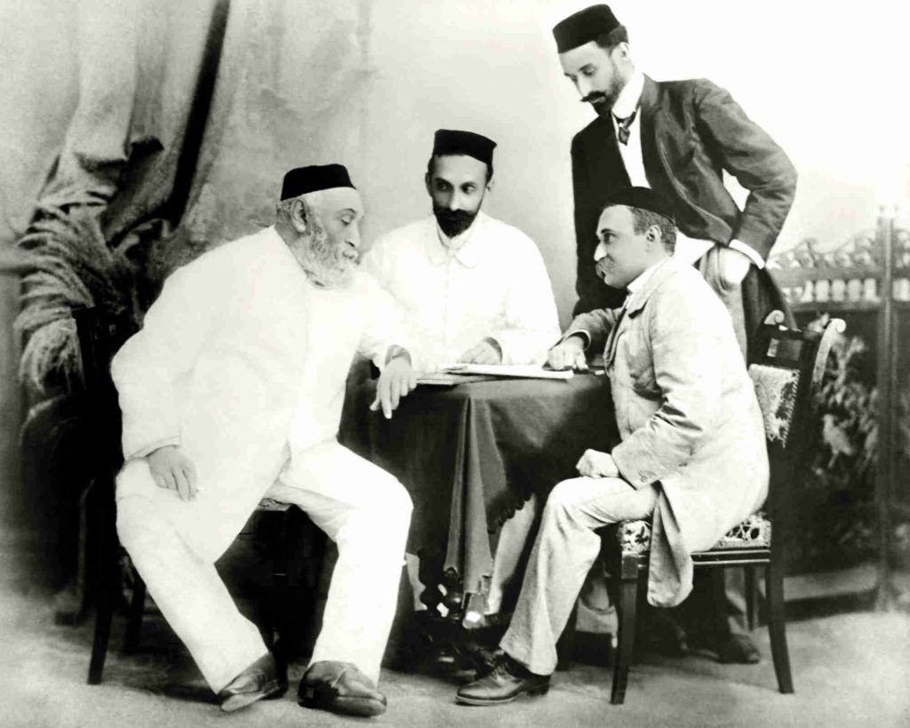 JN Tata (left) with his sons – Dorabji (facing him) and Ratanji (standing) – and RD Tata, father of JRD Tata (Photo courtesy: Tata Central Archives)